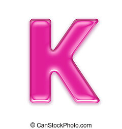 pink jelly letter isolated on white background - K - 3d pink...