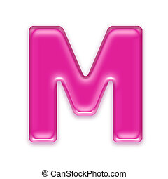 pink jelly letter isolated on white background - M - 3d pink...