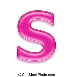 pink jelly letter isolated on white background - S - 3d pink...