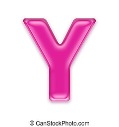 pink jelly letter isolated on white background - Y - 3d pink...