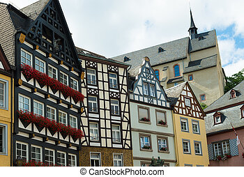 half-timbered houses in cochem, germany