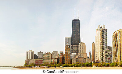 Downtown Chicago, IL on a sunny day as seen from Lake...