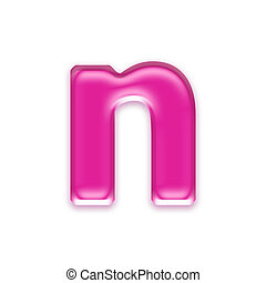 pink jelly letter isolated on white background - n - 3d pink...
