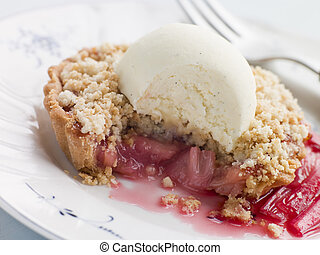 Rhubarb Crumble Tart with Vanilla Ice Cream