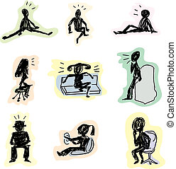 Stick Figures Sitting - Sketches of stick figures sitting in...