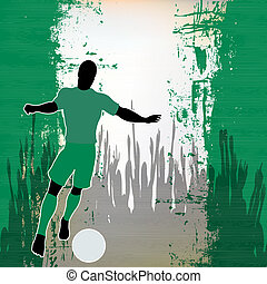 Football Nigeria, Vector Soccer player over a grunged...