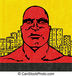 Red Head, vector illustration of an an angry bald headed man...