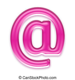 pink jelly mail sign isolated on white background - 3d pink...