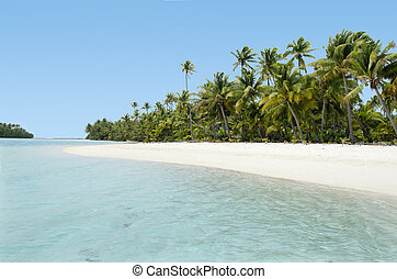 Aitutaki Lagoon Cook Islands - Landscape of One foot Island...