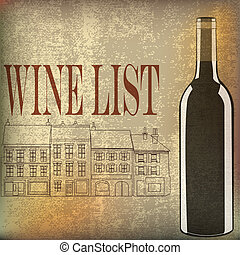 Wine List, Vector background for a rustic cafe or bar menu