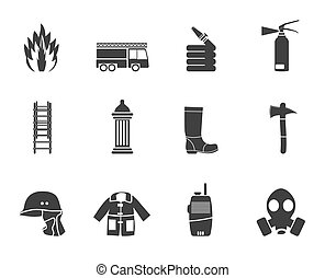 Silhouette fire-brigade icons - Silhouette fire-brigade and...