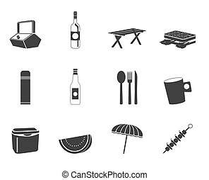 Silhouette Picnic and holiday icons - vector icon s