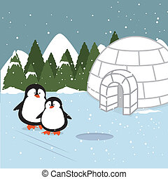 arctic design over landscape background vector illustration