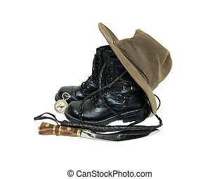 Adventure kit - Black leather boots, hat, knife, whip and a...