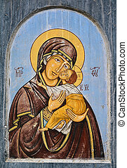 jesus and virgin mary - old painting of virgin mary and...