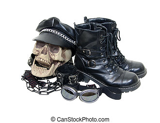Biker leathers - Skull, cap, chains, goggles and black...