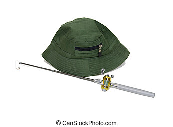 Fishing Pole and hat - Fishing pole with rod and reel used...