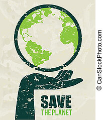 save the planet design over gray background vector...