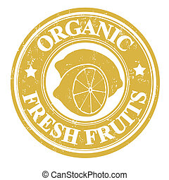 Lemon fruit stamp or label - Lemon organic fruit grunge...