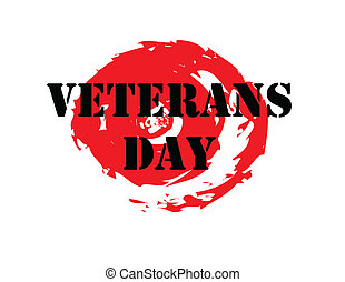 Veterans day stamp on red grunge seal, vector illustration