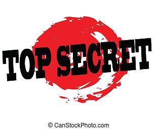 Top secret stamp on red grunge seal, vector illustration