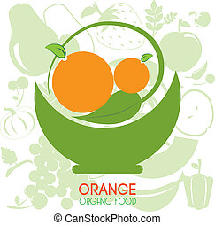 orange citrus fruit over pattern orange background vector...