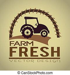 farm fresh label over beige background vector illustration