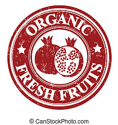 Pomegranate fruit stamp or label - Pomegranate organic fruit...