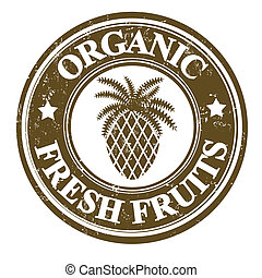 Pineapple fruit stamp or label - Pineapple organic fruit...