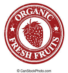 Strawberry fruit stamp or label