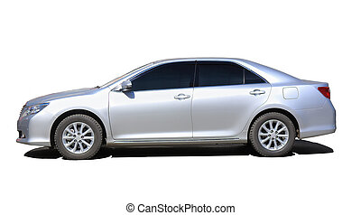 silvery car isolated - silvery modern the car is isolated on...