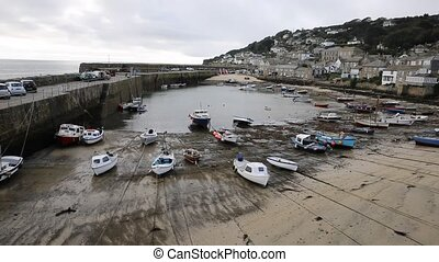 Mousehole harbour Cornwall England UK Cornish fishing...