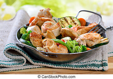 Crispy chicken fillet - Fried fillet of chicken with mixed...