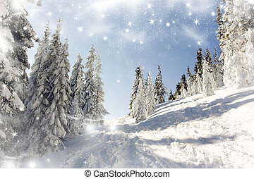 Snowy landscape in the mountains - Christmas background with...