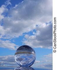 Glass orb reflection - Glass orb sky reflection