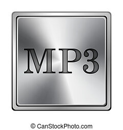 MP3 icon - Square metallic icon with carved design on grey...