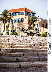 House with palms in Jaffa, a southern oldest part of Tel...
