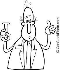 scientist with vial coloring page - Black and White Cartoon...