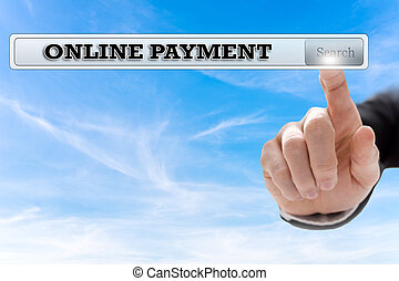 Online payment written in search bar on virtual screen.