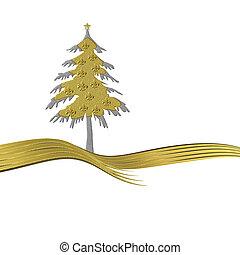 Elegant gold tree ornate with golden fleur-de-lisl isolated...