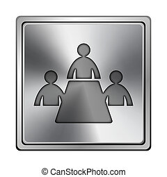 Meeting room icon - Square metallic icon with carved design...