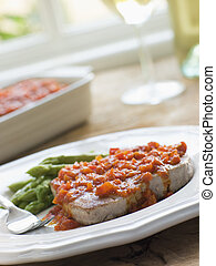 Marmitako Tuna Steak with Asparagus