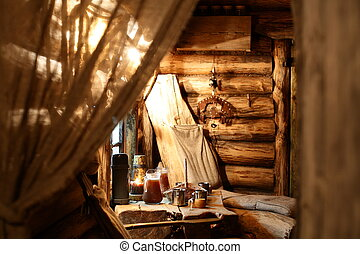 interior of russian wooden sauna - luxury and cute interior...