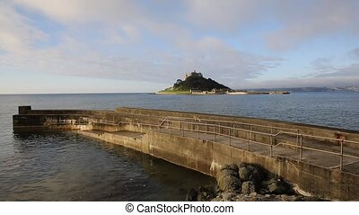Medieval castle island St Michaels Mount Cornwall England UK