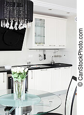 modern kitchen with stylish furniture