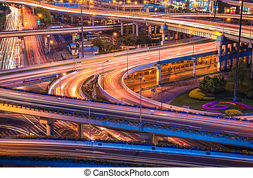 shanghai elevated road junction at night - shanghai elevated...