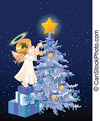 Christmas angel - Christmas Angel decorating Christmas tree
