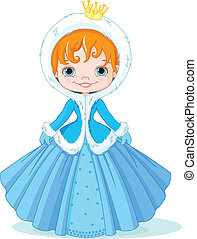 Little winter princess - Illustration of cute little winter...