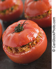 Stuffed Beef Tomato on a Baking Sheet