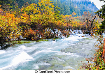 beautiful jiuzhaigou in autumn - beautiful jiuzhaigou valley...